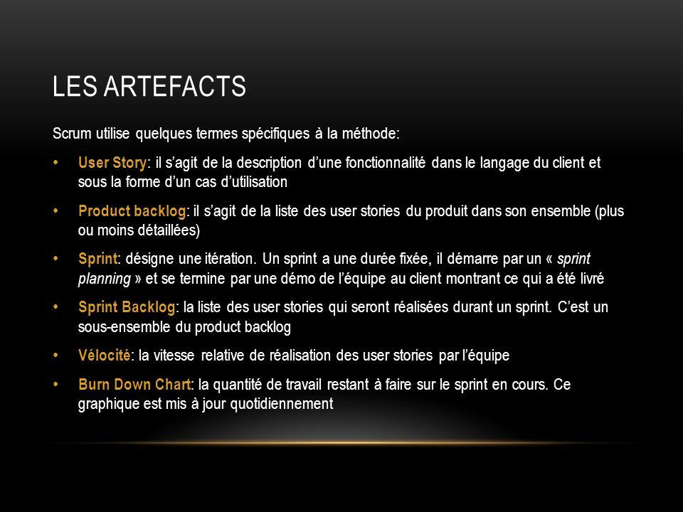 LES ARTEFACTS Scrum utilise quelques termes spécifiques à la méthode: User Story : il sagit de la description dune fonctionnalité dans le langage du c