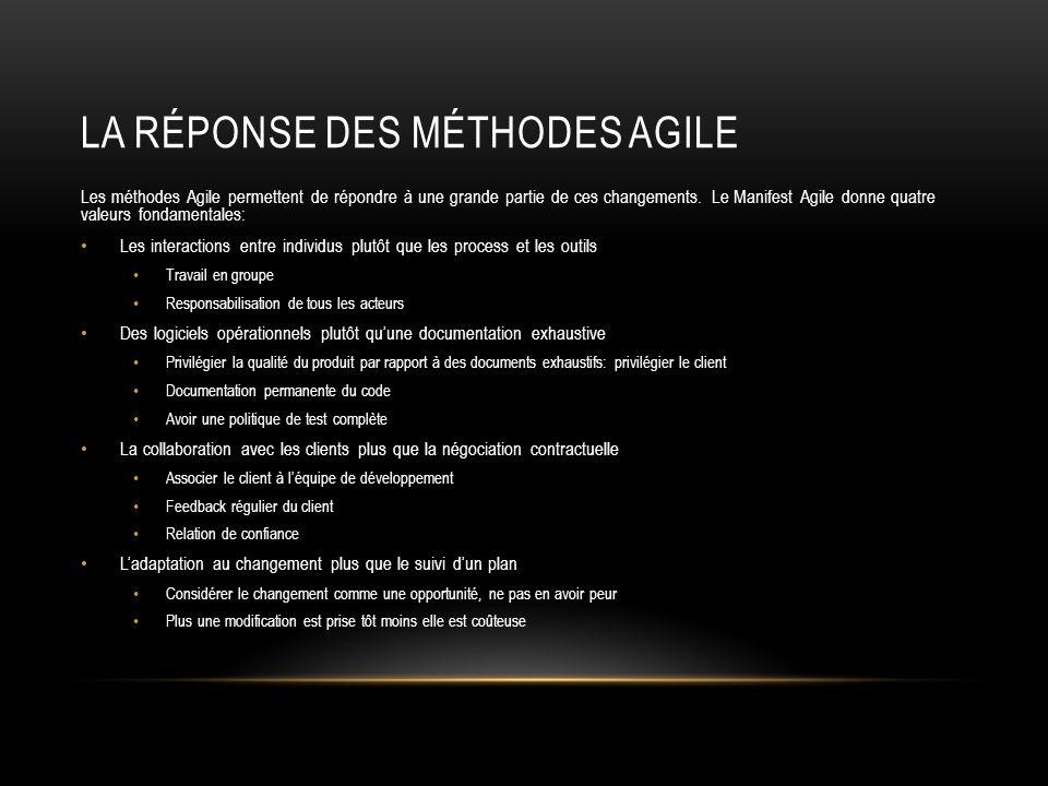 LA RÉPONSE DES MÉTHODES AGILE Les méthodes Agile permettent de répondre à une grande partie de ces changements. Le Manifest Agile donne quatre valeurs