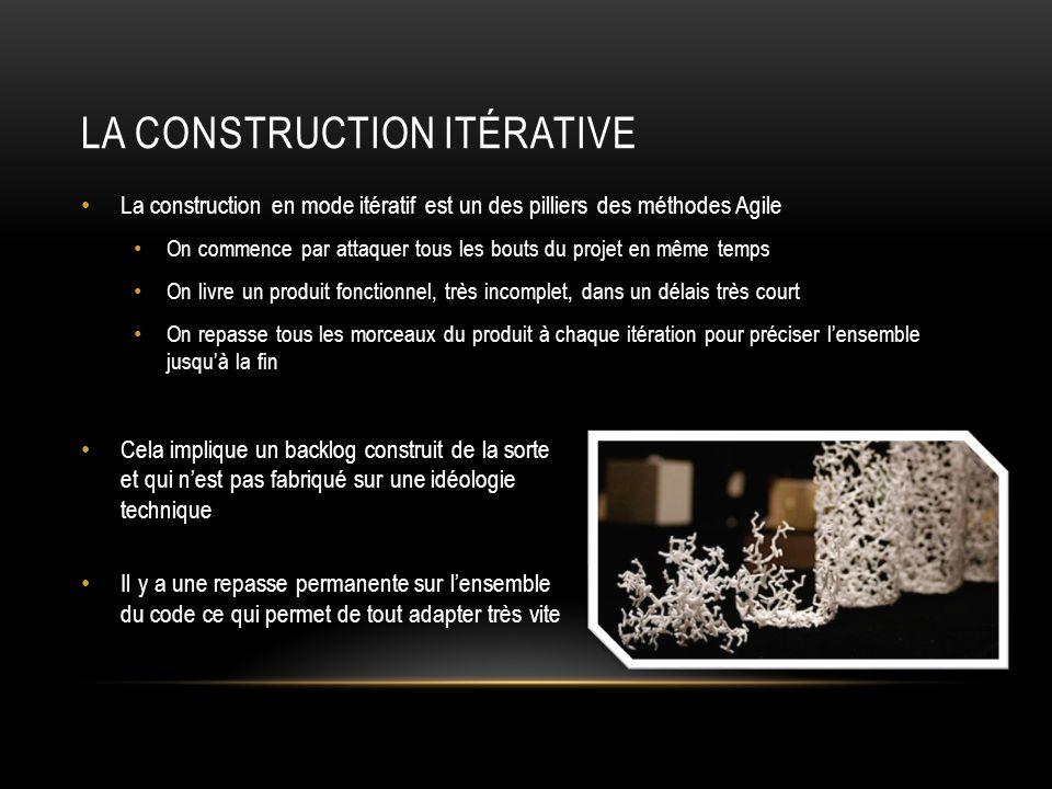 LA CONSTRUCTION ITÉRATIVE La construction en mode itératif est un des pilliers des méthodes Agile On commence par attaquer tous les bouts du projet en