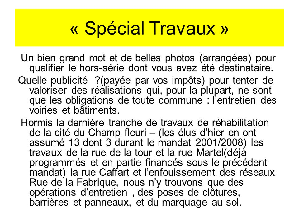 « Spécial Travaux »