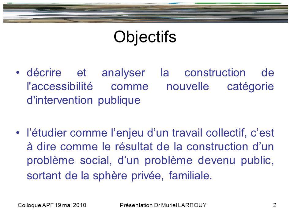 Colloque APF 19 mai 2010 Présentation Dr Muriel LARROUY 2 Objectifs décrire et analyser la construction de l'accessibilité comme nouvelle catégorie d'