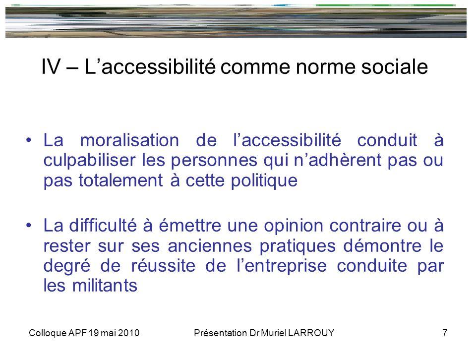 Colloque APF 19 mai 2010 Présentation Dr Muriel LARROUY 7 IV – Laccessibilité comme norme sociale La moralisation de laccessibilité conduit à culpabil