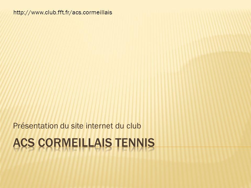 Présentation du site internet du club http://www.club.fft.fr/acs.cormeillais