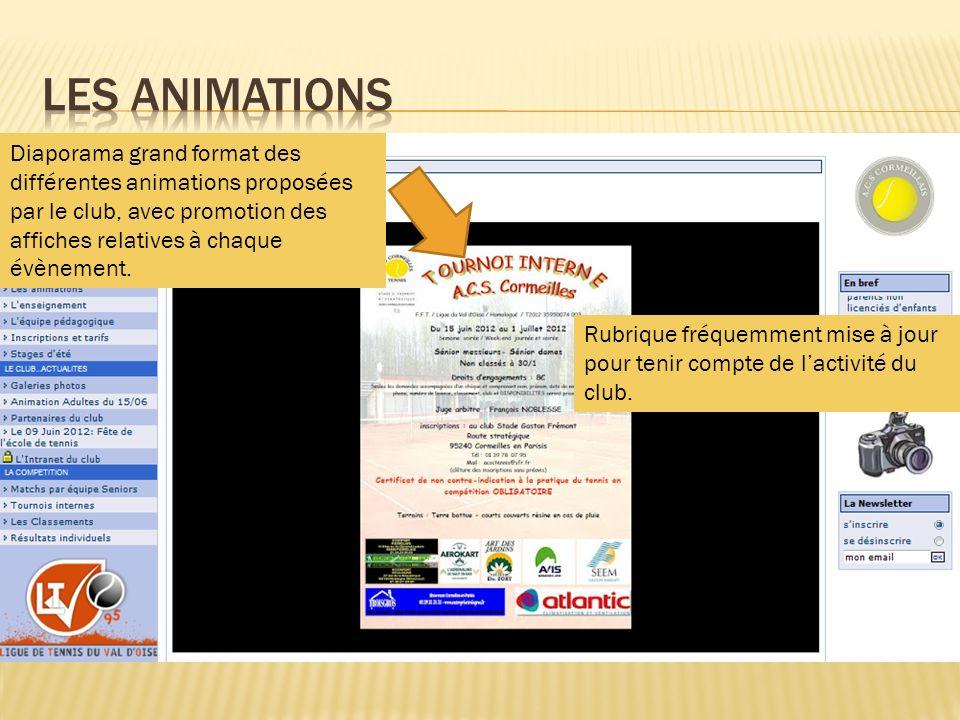 Diaporama grand format des différentes animations proposées par le club, avec promotion des affiches relatives à chaque évènement. Rubrique fréquemmen