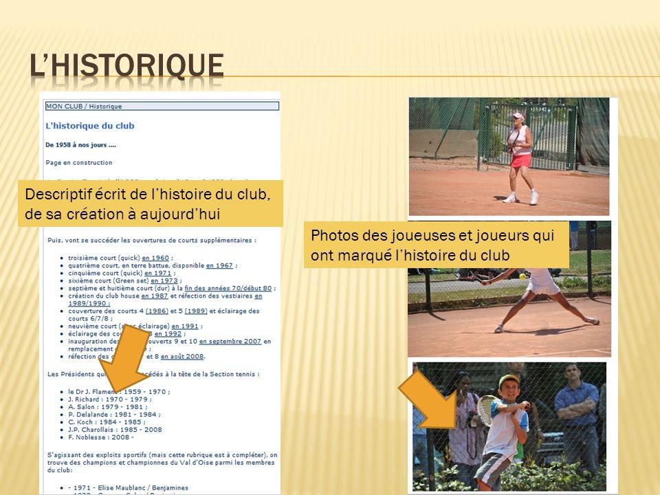 Descriptif écrit de lhistoire du club, de sa création à aujourdhui Photos des joueuses et joueurs qui ont marqué lhistoire du club