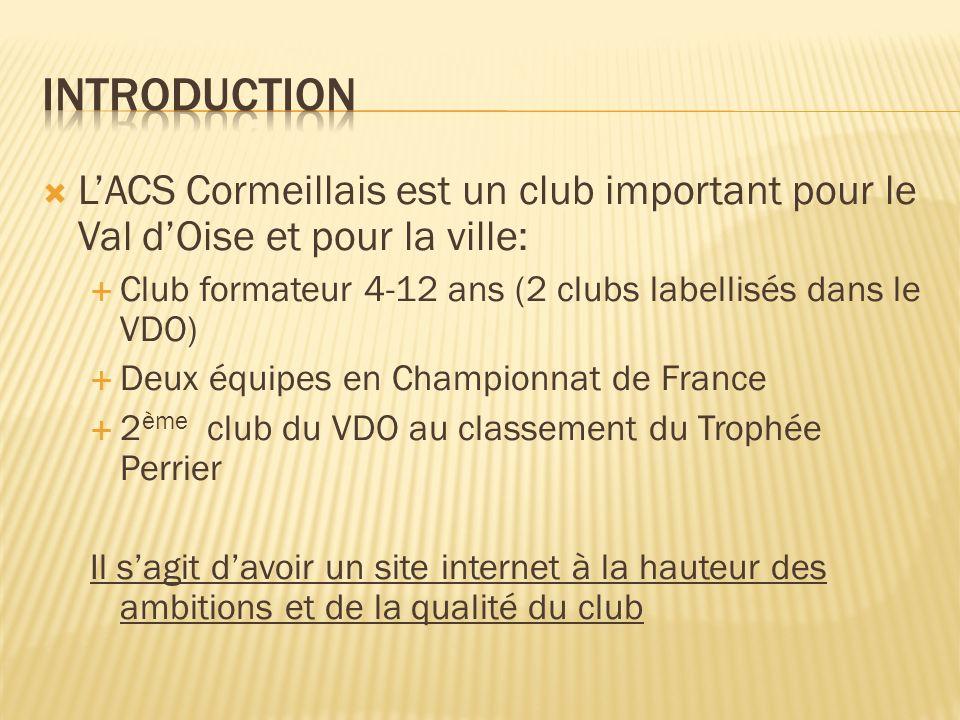 LACS Cormeillais est un club important pour le Val dOise et pour la ville: Club formateur 4-12 ans (2 clubs labellisés dans le VDO) Deux équipes en Ch