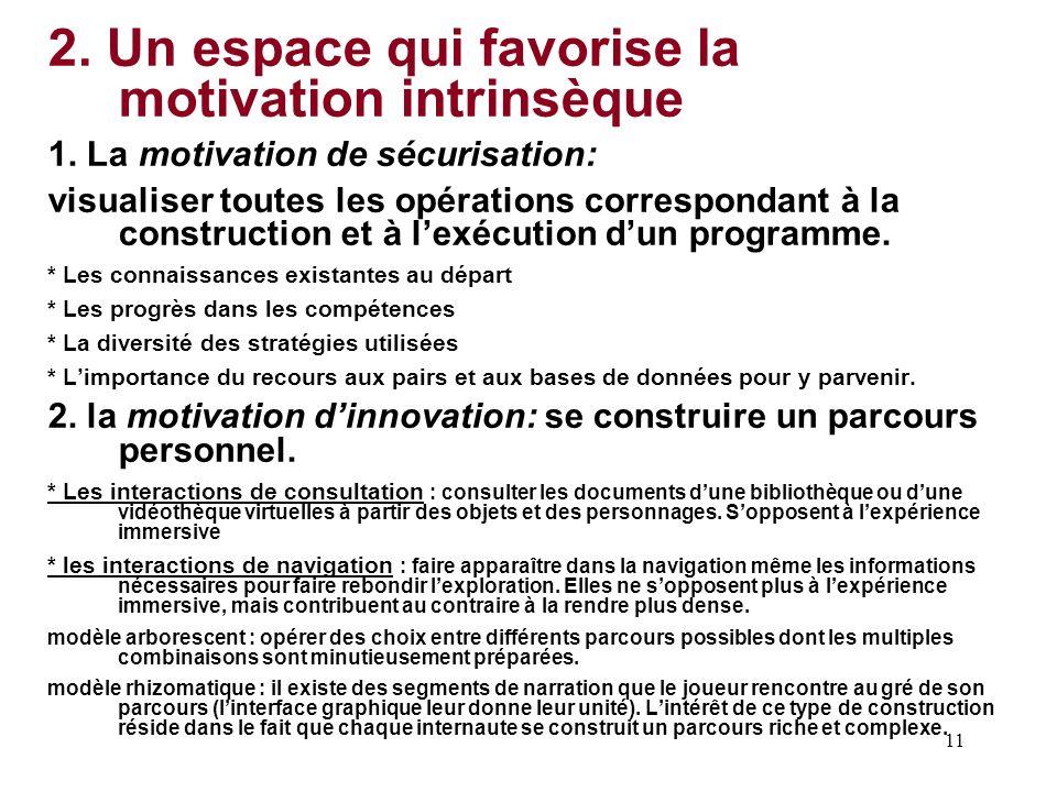 11 2. Un espace qui favorise la motivation intrinsèque 1. La motivation de sécurisation: visualiser toutes les opérations correspondant à la construct