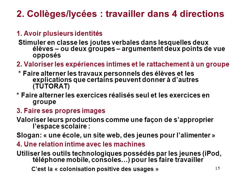 15 2.Collèges/lycées : travailler dans 4 directions 1.