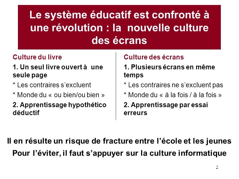 2 Le système éducatif est confronté à une révolution : la nouvelle culture des écrans Culture du livre 1. Un seul livre ouvert à une seule page * Les