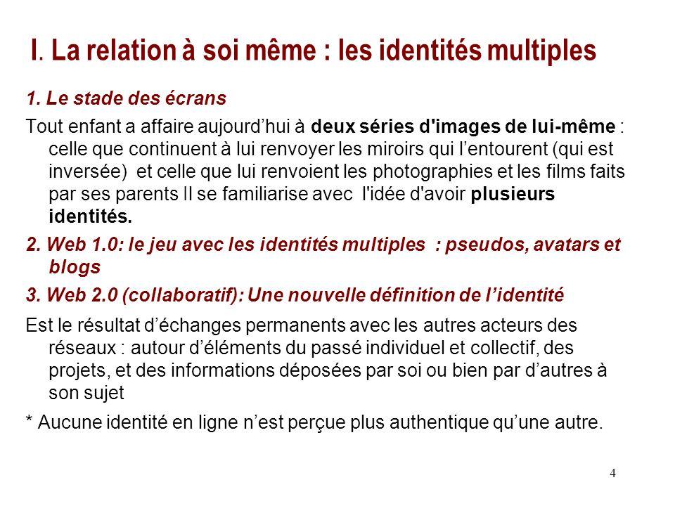 4 I.La relation à soi même : les identités multiples 1.