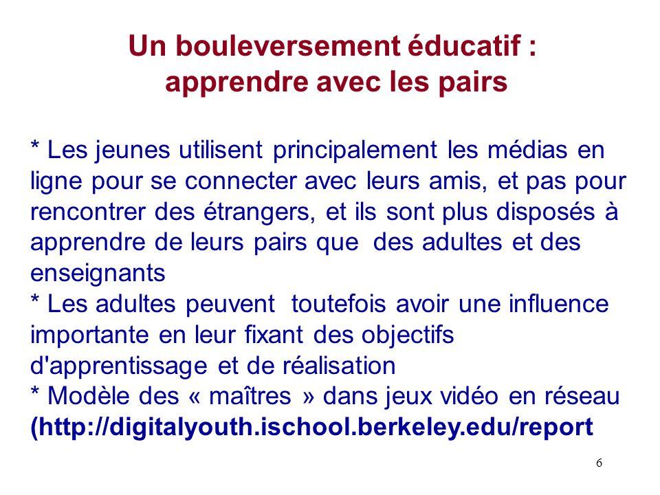 6 Un bouleversement éducatif : apprendre avec les pairs * Les jeunes utilisent principalement les médias en ligne pour se connecter avec leurs amis, e