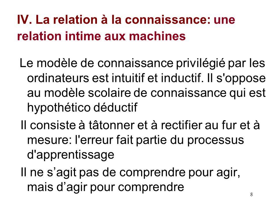 8 IV. La relation à la connaissance: une relation intime aux machines Le modèle de connaissance privilégié par les ordinateurs est intuitif et inducti