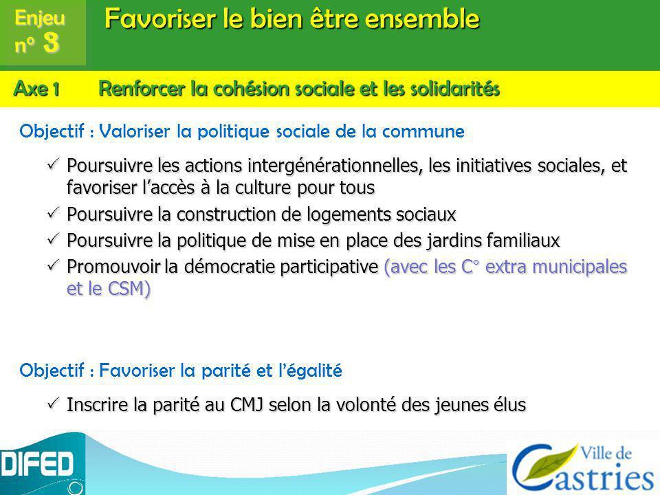 Favoriser le bien être ensemble Objectif : Valoriser la politique sociale de la commune Poursuivre les actions intergénérationnelles, les initiatives
