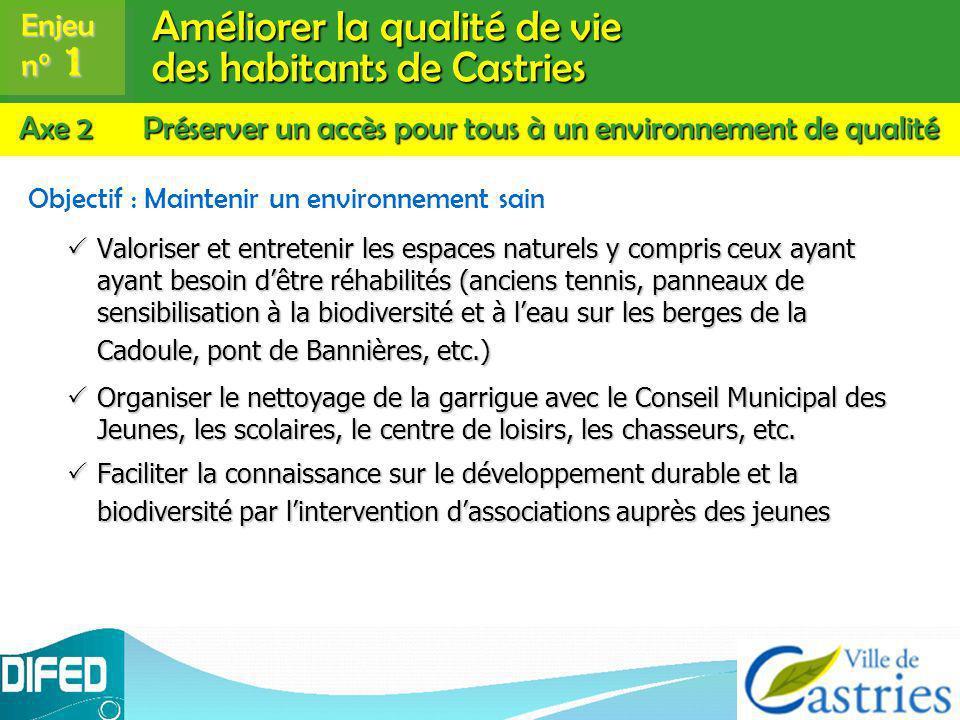Améliorer la qualité de vie des habitants de Castries Objectif : Maintenir un environnement sain Valoriser et entretenir les espaces naturels y compri