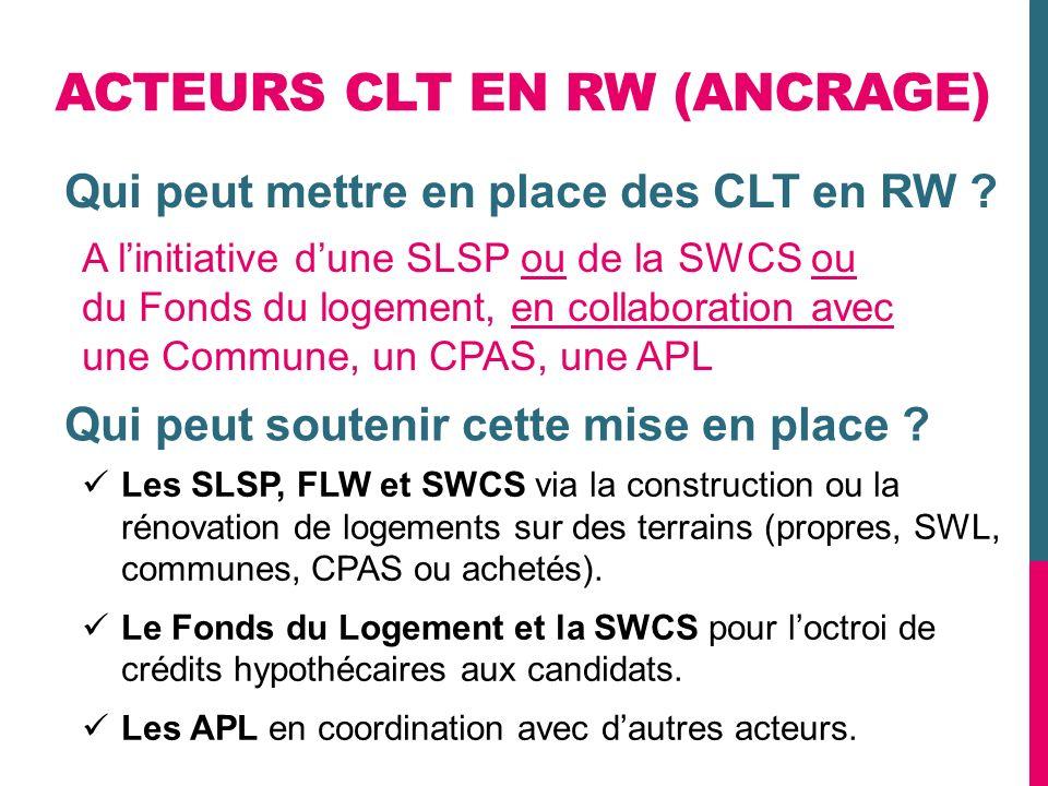 ACTEURS CLT EN RW (ANCRAGE) Les SLSP, FLW et SWCS via la construction ou la rénovation de logements sur des terrains (propres, SWL, communes, CPAS ou