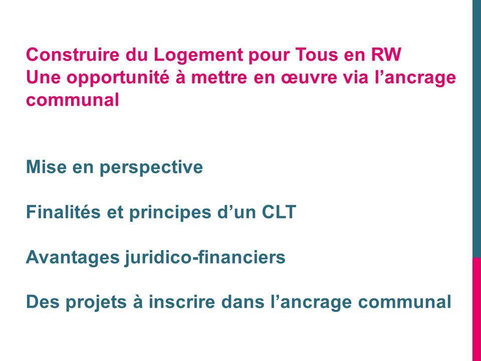 Construire du Logement pour Tous en RW Une opportunité à mettre en œuvre via lancrage communal Mise en perspective Finalités et principes dun CLT Avan