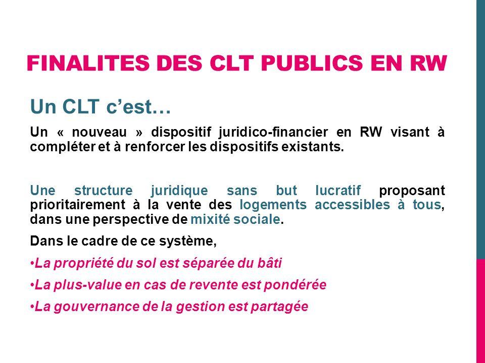 FINALITES DES CLT PUBLICS EN RW Un CLT cest… Un « nouveau » dispositif juridico-financier en RW visant à compléter et à renforcer les dispositifs exis