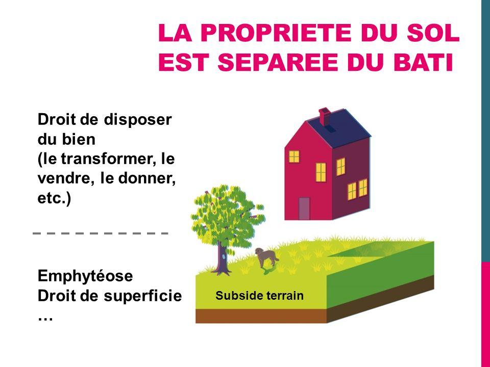 LA PROPRIETE DU SOL EST SEPAREE DU BATI Subside terrain Droit de disposer du bien (le transformer, le vendre, le donner, etc.) Emphytéose Droit de sup