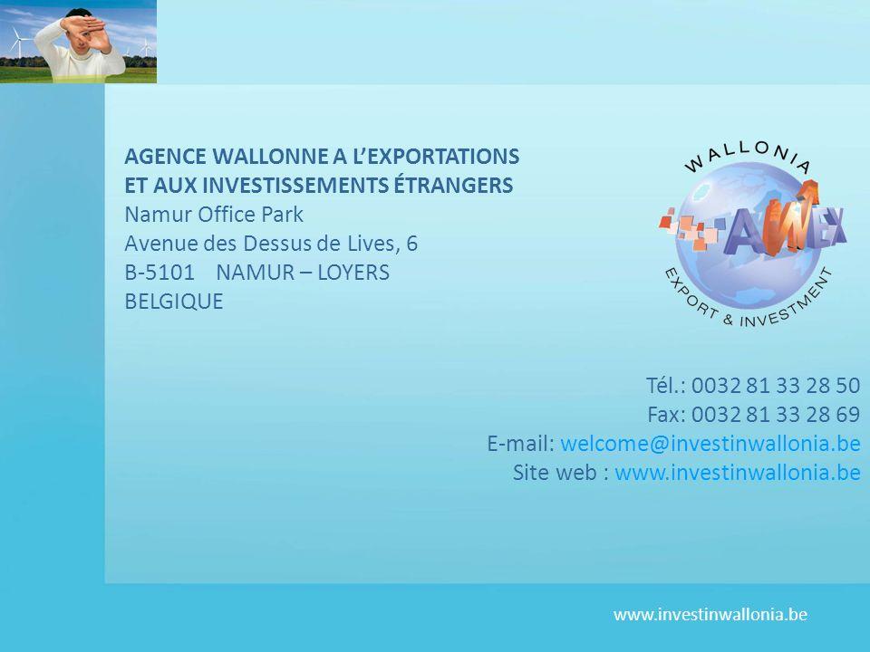 www.investinwallonia.be AGENCE WALLONNE A LEXPORTATIONS ET AUX INVESTISSEMENTS ÉTRANGERS Namur Office Park Avenue des Dessus de Lives, 6 B-5101 NAMUR – LOYERS BELGIQUE Tél.: 0032 81 33 28 50 Fax: 0032 81 33 28 69 E-mail: welcome@investinwallonia.be Site web : www.investinwallonia.be