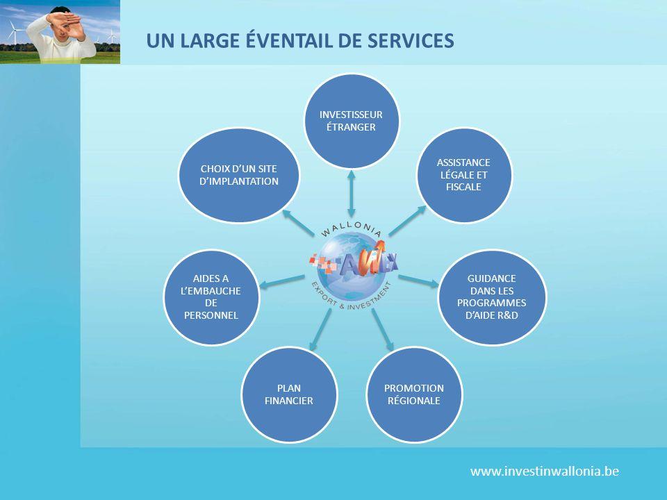 www.investinwallonia.be UN LARGE ÉVENTAIL DE SERVICES INVESTISSEUR ÉTRANGER ASSISTANCE LÉGALE ET FISCALE GUIDANCE DANS LES PROGRAMMES DAIDE R&D PROMOTION RÉGIONALE PLAN FINANCIER AIDES A LEMBAUCHE DE PERSONNEL CHOIX DUN SITE DIMPLANTATION
