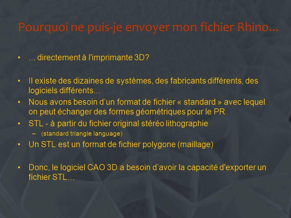 Pourquoi ne puis-je envoyer mon fichier Rhino...... directement à l'imprimante 3D? Il existe des dizaines de systèmes, des fabricants différents, des