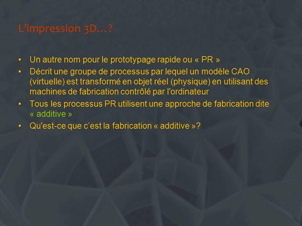 Limpression 3D…? Un autre nom pour le prototypage rapide ou « PR » Décrit une groupe de processus par lequel un modèle CAO (virtuelle) est transformé