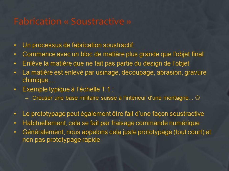 Fabrication « Soustractive » Un processus de fabrication soustractif: Commence avec un bloc de matière plus grande que l'objet final Enlève la matière