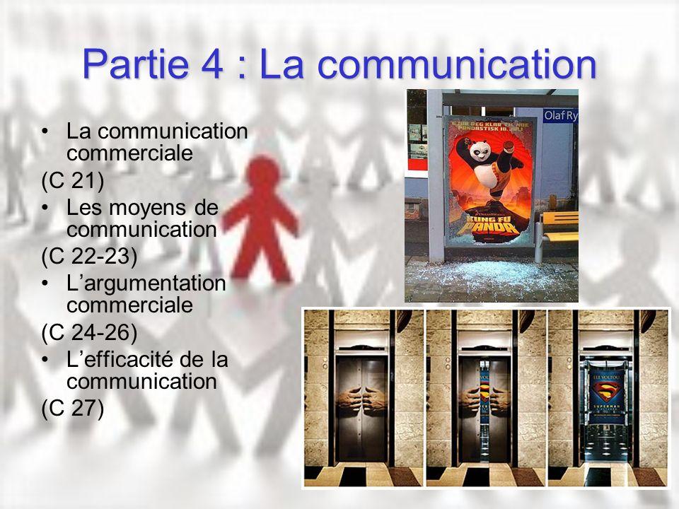 Partie 4 : La communication La communication commerciale (C 21) Les moyens de communication (C 22-23) Largumentation commerciale (C 24-26) Lefficacité