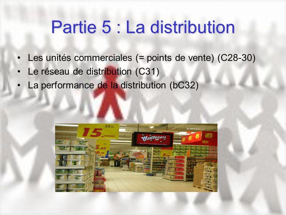 Partie 5 : La distribution Les unités commerciales (= points de vente) (C28-30) Le réseau de distribution (C31) La performance de la distribution (bC3