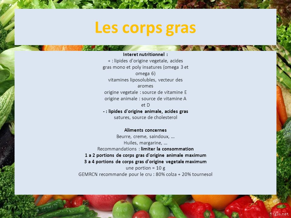 Les corps gras Interet nutritionnel : + : lipides d'origine vegetale, acides gras mono et poly insatures (omega 3 et omega 6) vitamines liposolubles,