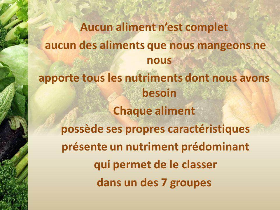 Aucun aliment nest complet aucun des aliments que nous mangeons ne nous apporte tous les nutriments dont nous avons besoin Chaque aliment possède ses