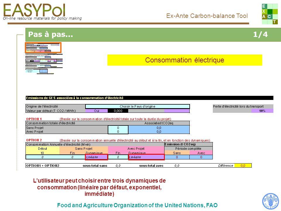 On-line resource materials for policy making Ex-Ante Carbon-balance Tool Food and Agriculture Organization of the United Nations, FAO Lutilisateur peut choisir entre trois dynamiques de consommation (linéaire par défaut, exponentiel, immédiate) Pas à pas...1/4 Consommation électrique