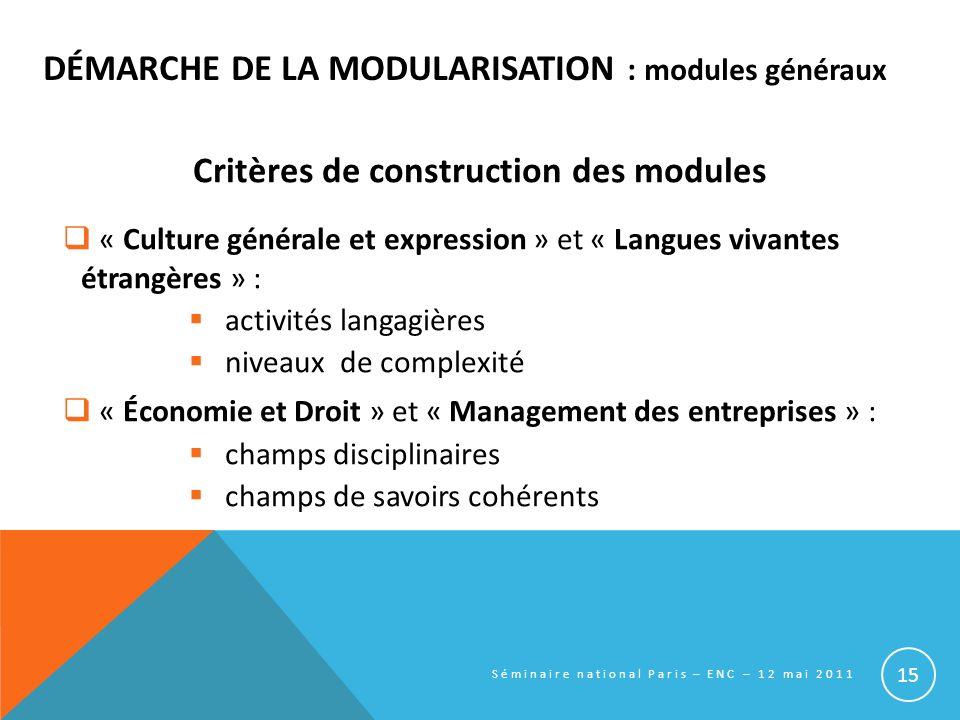 DÉMARCHE DE LA MODULARISATION : modules généraux Critères de construction des modules « Culture générale et expression » et « Langues vivantes étrangè