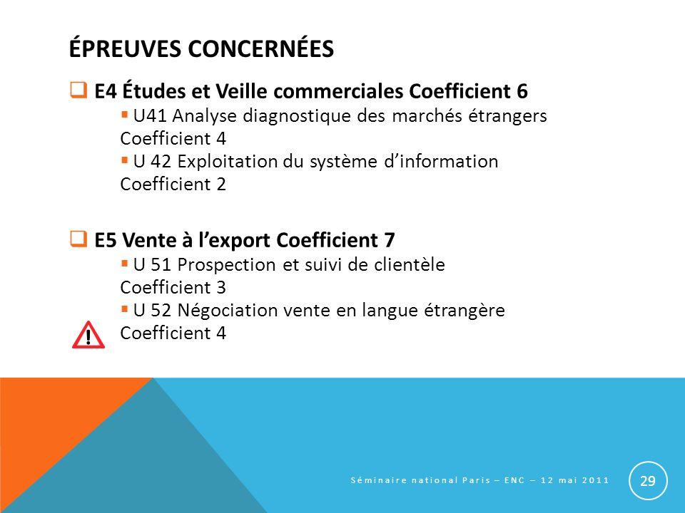 ÉPREUVES CONCERNÉES E4 Études et Veille commerciales Coefficient 6 U41 Analyse diagnostique des marchés étrangers Coefficient 4 U 42 Exploitation du s