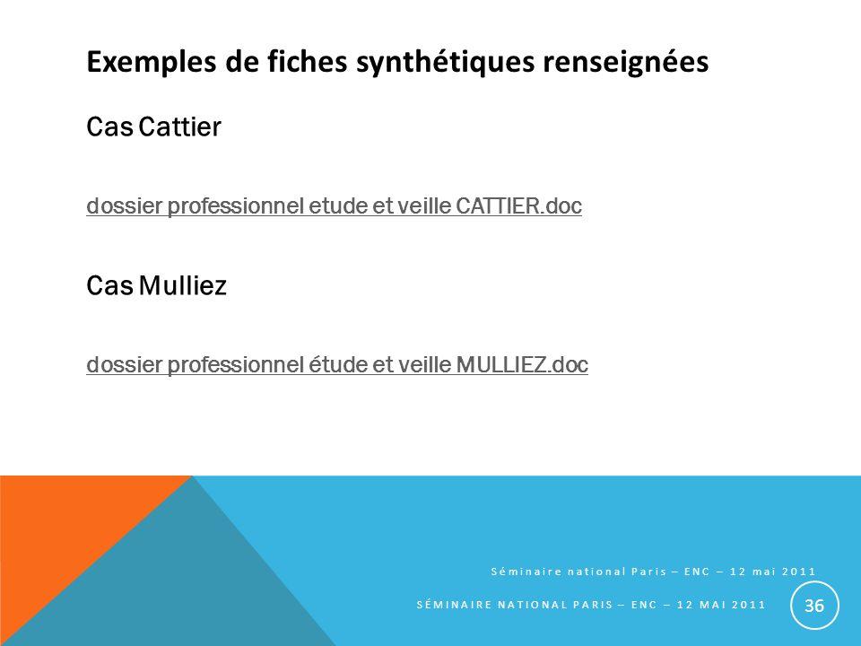 Exemples de fiches synthétiques renseignées Cas Cattier dossier professionnel etude et veille CATTIER.doc Cas Mulliez dossier professionnel étude et v