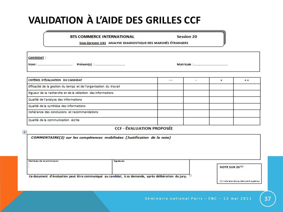 VALIDATION À LAIDE DES GRILLES CCF Séminaire national Paris – ENC – 12 mai 2011 37
