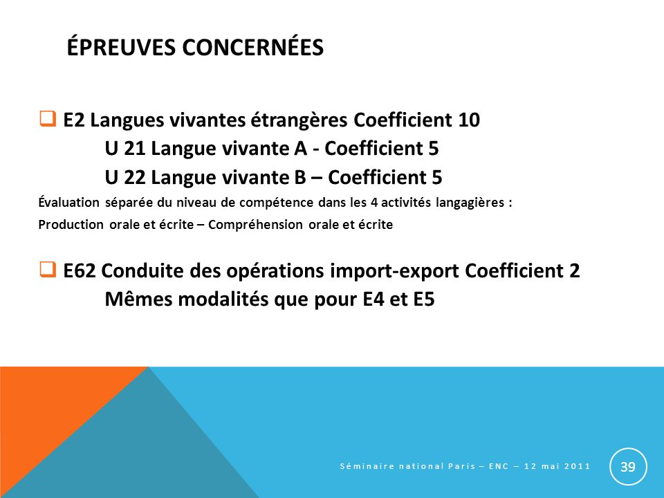 ÉPREUVES CONCERNÉES E2 Langues vivantes étrangères Coefficient 10 U 21 Langue vivante A - Coefficient 5 U 22 Langue vivante B – Coefficient 5 Évaluati