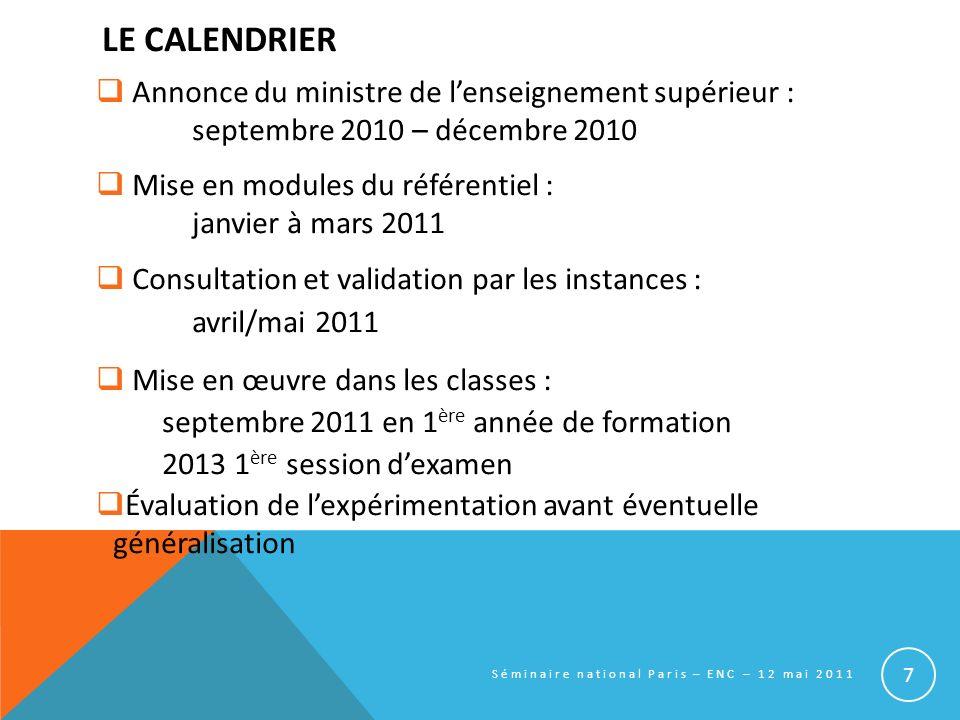 LE CALENDRIER Annonce du ministre de lenseignement supérieur : septembre 2010 – décembre 2010 Mise en modules du référentiel : janvier à mars 2011 Con