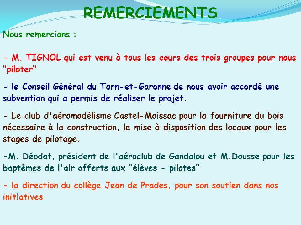 REMERCIEMENTS Nous remercions : - M. TIGNOL qui est venu à tous les cours des trois groupes pour nous piloter - le Conseil Général du Tarn-et-Garonne