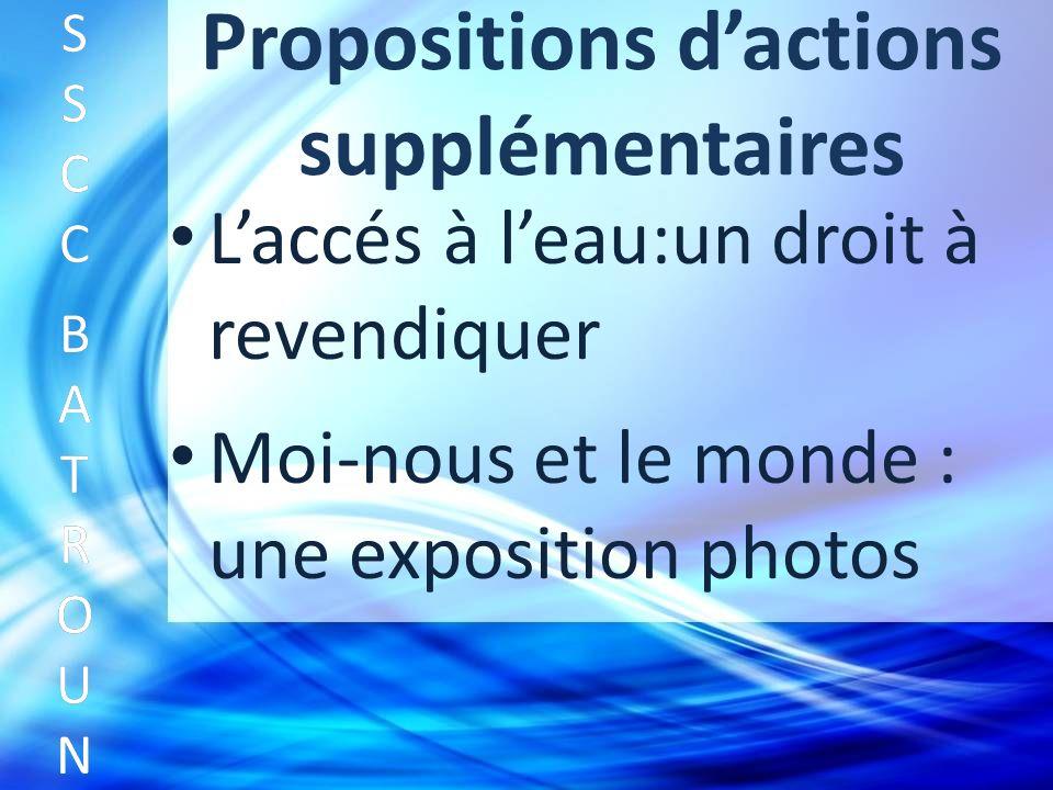 Propositions dactions supplémentaires Laccés à leau:un droit à revendiquer SSCC BATROUNSSCC BATROUN S S C C B A T R O U N Moi-nous et le monde : une exposition photos