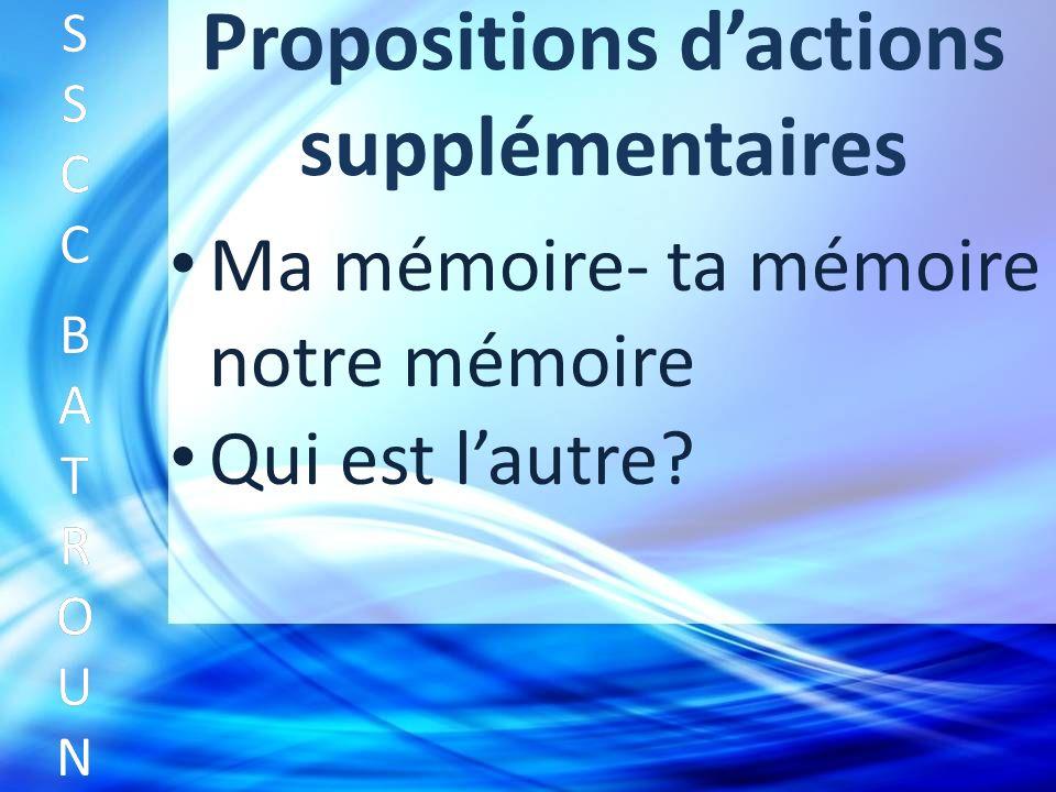 Propositions dactions supplémentaires Ma mémoire- ta mémoire notre mémoire SSCC BATROUNSSCC BATROUN S S C C B A T R O U N Qui est lautre?