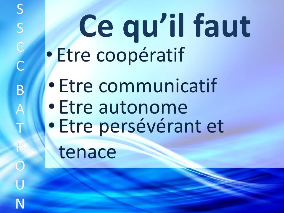 Ce quil faut Etre coopératif SSCC BATROUNSSCC BATROUN S S C C B A T R O U N Etre communicatif Etre autonome Etre persévérant et tenace