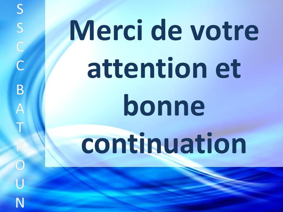 Merci de votre attention et bonne continuation SSCC BATROUNSSCC BATROUN S S C C B A T R O U N
