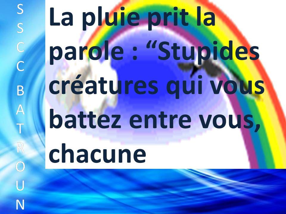 SSCC BATROUNSSCC BATROUN S S C C B A T R O U N La pluie prit la parole : Stupides créatures qui vous battez entre vous, chacune
