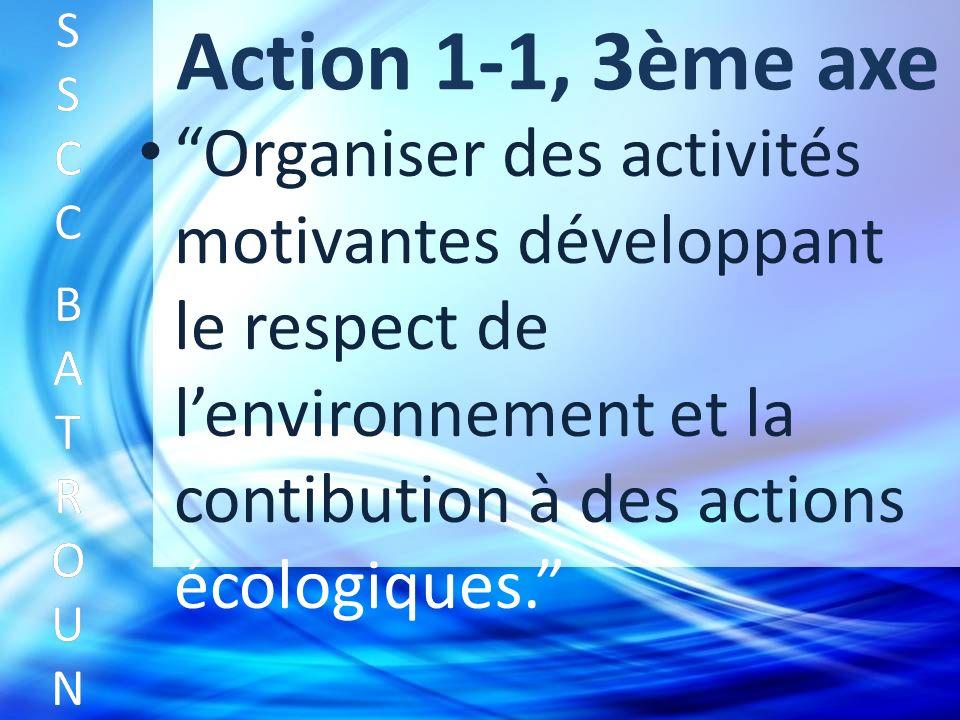 Action 1-1, 3ème axe Organiser des activités motivantes développant le respect de lenvironnement et la contibution à des actions écologiques.