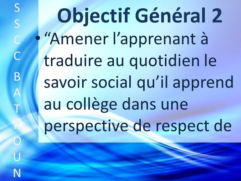 Objectif Général 2 Amener lapprenant à traduire au quotidien le savoir social quil apprend au collège dans une perspective de respect de SSCC BATROUNSSCC BATROUN S S C C B A T R O U N