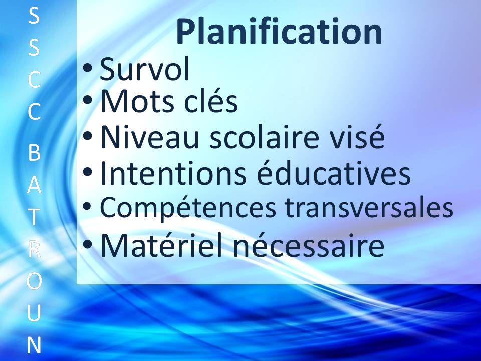 Planification Survol SSCC BATROUNSSCC BATROUN S S C C B A T R O U N Mots clés Niveau scolaire visé Intentions éducatives Compétences transversales Matériel nécessaire