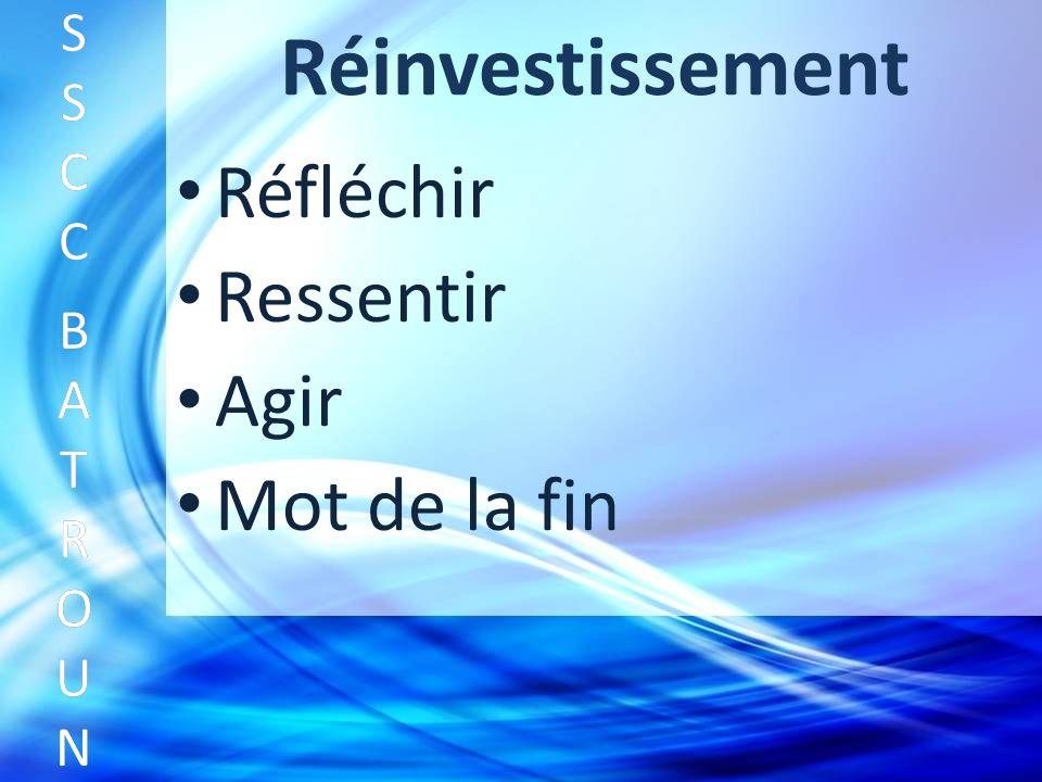 Réinvestissement Réfléchir SSCC BATROUNSSCC BATROUN S S C C B A T R O U N Ressentir Agir Mot de la fin