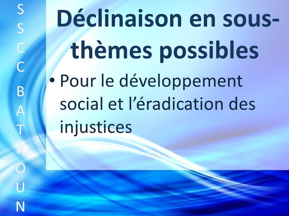 Déclinaison en sous- thèmes possibles Pour le développement social et léradication des injustices SSCC BATROUNSSCC BATROUN S S C C B A T R O U N