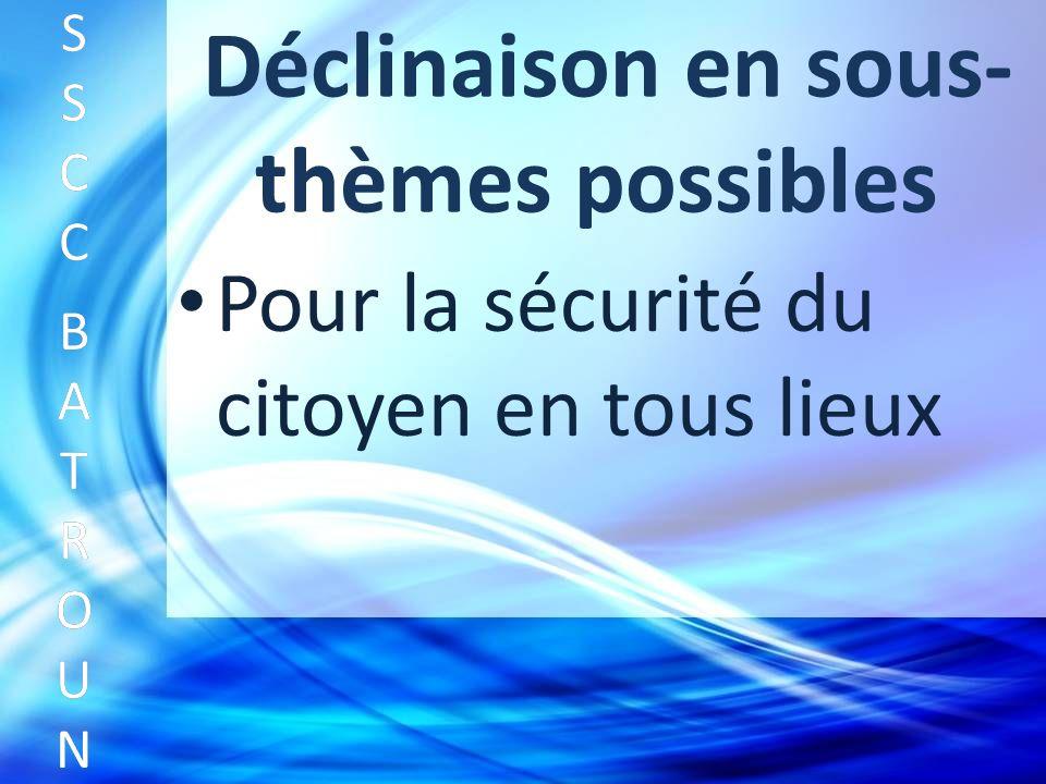 Déclinaison en sous- thèmes possibles Pour la sécurité du citoyen en tous lieux SSCC BATROUNSSCC BATROUN S S C C B A T R O U N